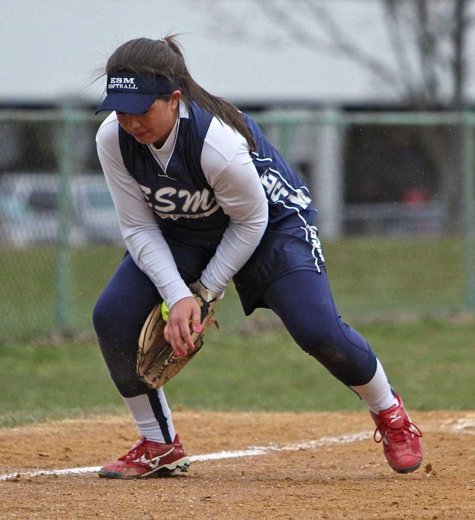 Eastport/South Manor third baseman Jessica McKinnon plays the