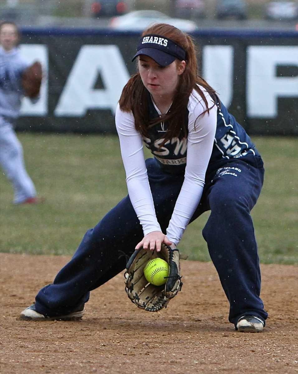 Eastport/South Manor second baseman Cassadie Watson grabs the