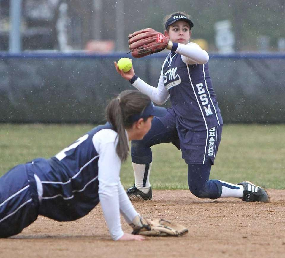 Eastport/South Manor shortstop Michelle Amendola grabs the grounder