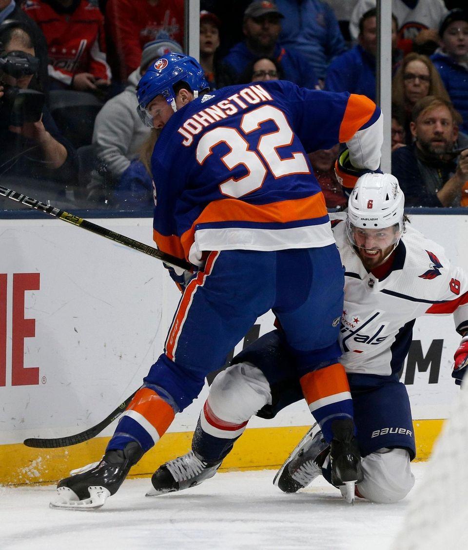 Ross Johnston #32 of the New York Islanders