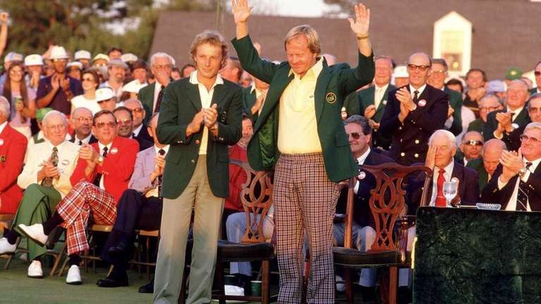 Jack Nicklaus of the USA receives the Green