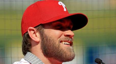 Bryce Harper is introduced to the Philadelphia Phillies