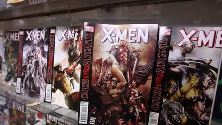 Comic books line the shelves at Grasshoppers, one