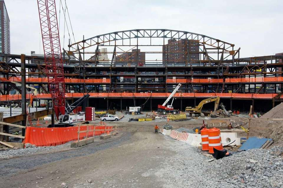 A view of construction of the Barclays Center