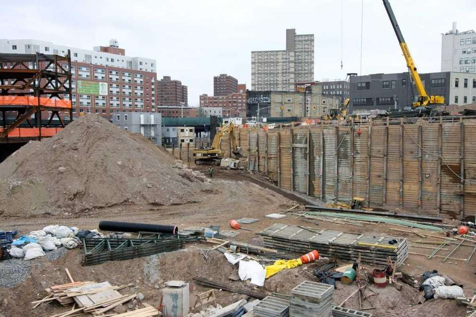 The construction site of the Barclays Center in