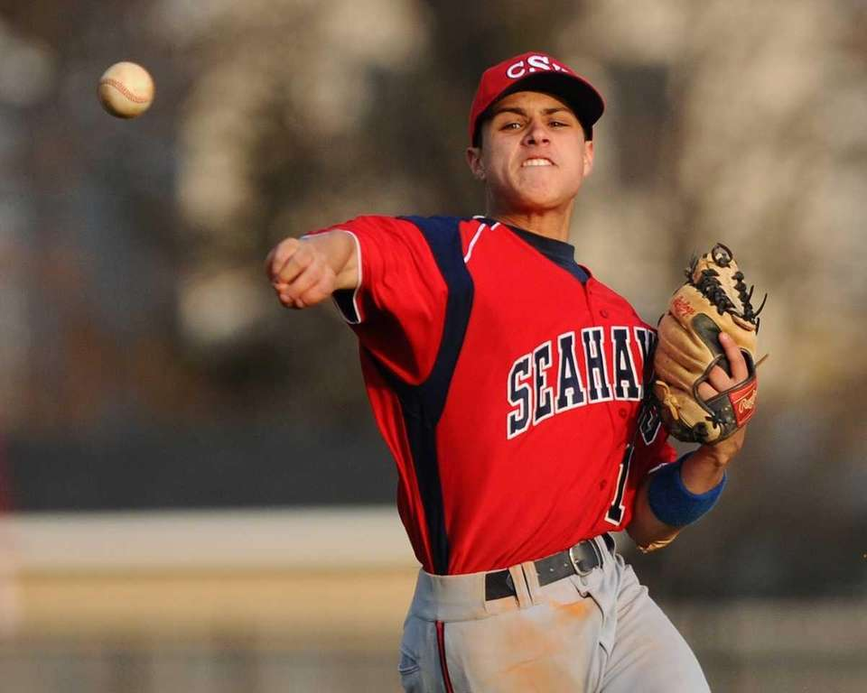 Cold Spring Harbor shortstop Jordan Mederos throws to