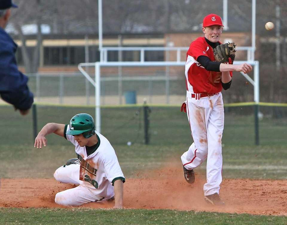 Connetquot shortstop Casey Baker turns a double play