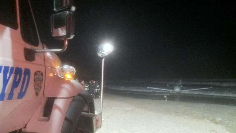 A single-engine aircraft landed safely in the Rockaway