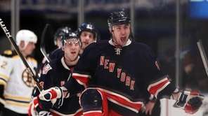 The Rangers' Brandon Dubinsky celebrates after scoring the