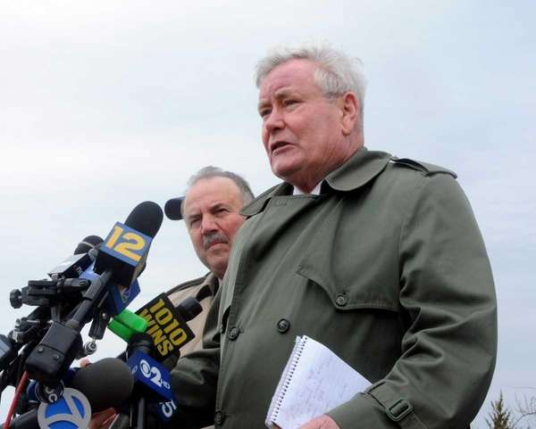 Suffolk County Police Commissioner Richard Dormer addresses the