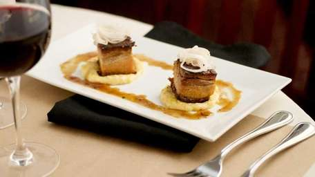 Braised pork belly with corn pudding and pickled