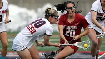 Stony Brook's Ally Kennedy (30) controls the loose