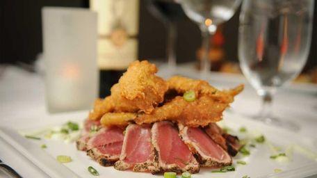 Asian rare-seared yellowfin tuna with tempura vegetables is