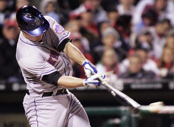 New York Mets Brad Emaus singles to center
