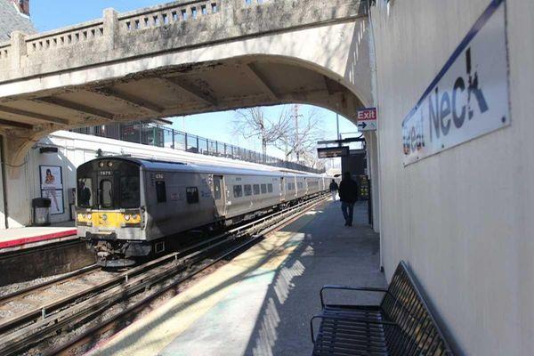 A Long Island Rail Road train pulls in