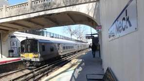 A Long Island Rail Road train pulls in
