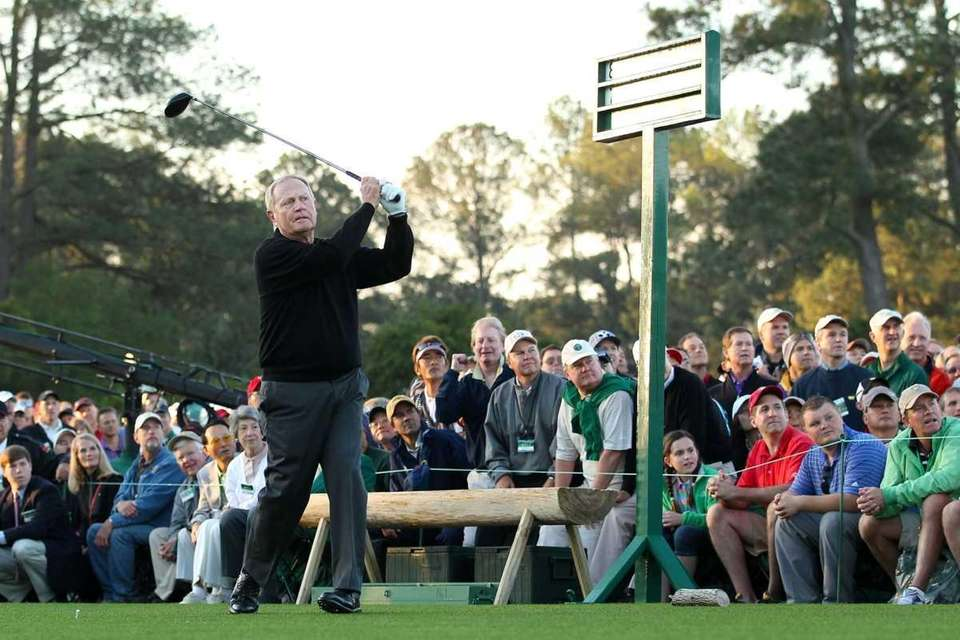 Jack Nicklaus hits his ceremonial first tee shot