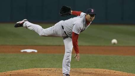 Josh Beckett of the Boston Red Sox pitches