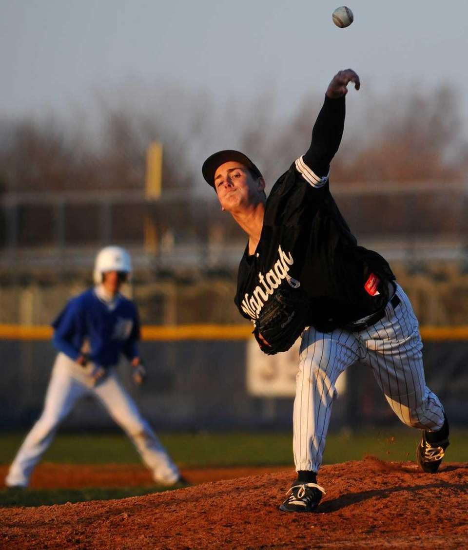 Wantagh High School pitcher #15 Shaun Milito delivers