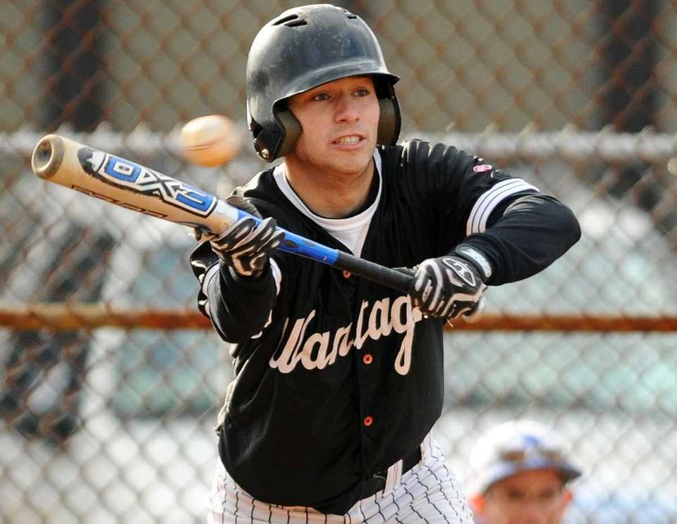 Wantagh's Andrew Streichler attempts to bunt in the