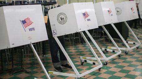 Voting booths at West Babylon Junior High School