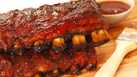 Two slabs of delicious BBQ spare ribs with