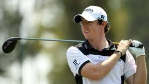 Rory McIlroy hits his tee shot on the