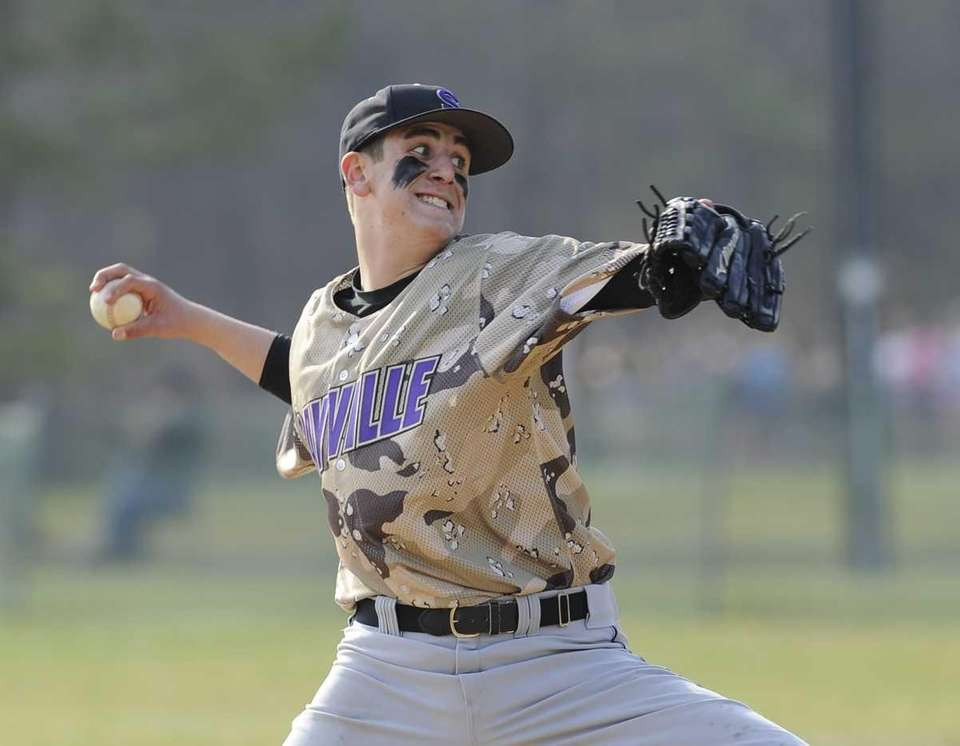 Sayville pitcher Brendan Butler delivers to the plate