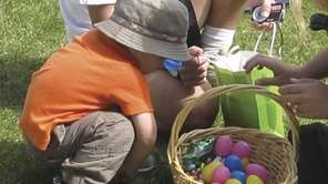 An egg seeker fills his basket at an