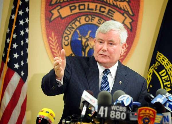Suffolk County Police Commissioner Richard Dormer speaks to