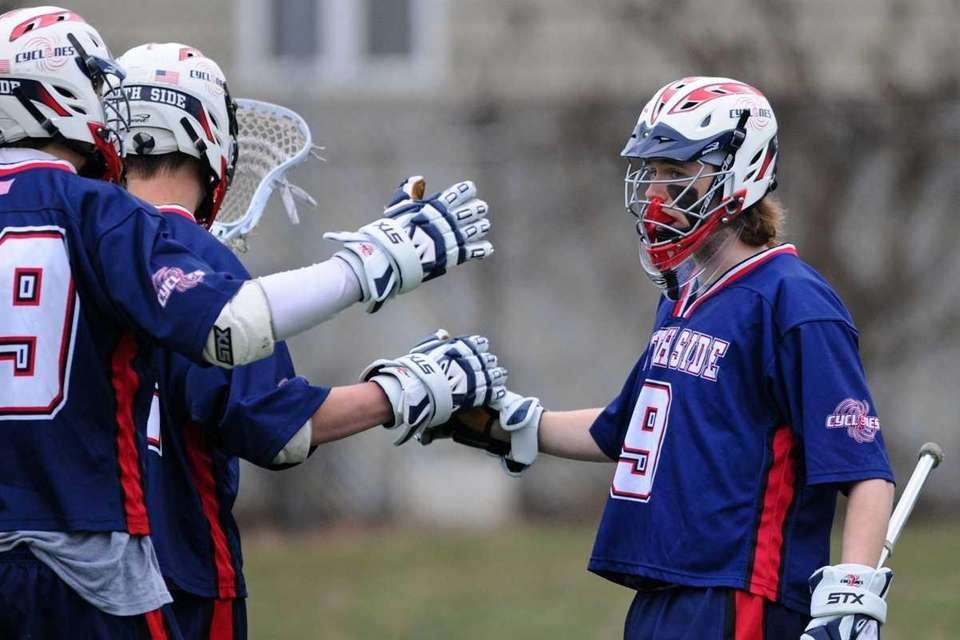 South Side High School #9 Dominic Moriarty, right,