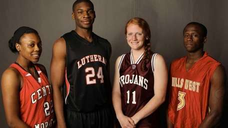 Basketball standouts, from left: Center Moriches' Amber Davis,