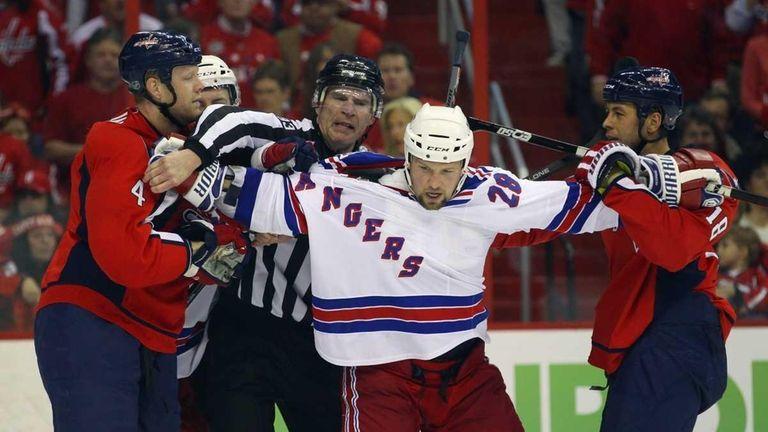 Bryan McCabe #28 of the New York Rangers