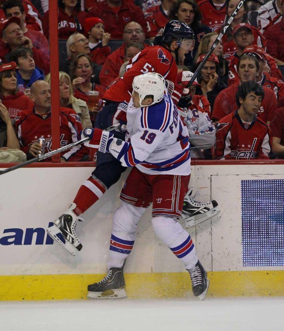 Ruslan Fedotenko #19 of the New York Rangers