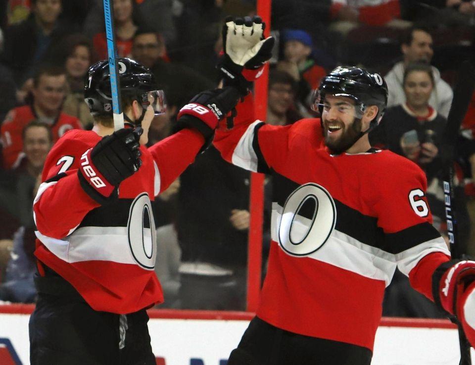 Ottawa Senators left wing Brady Tkachuk celebrates his