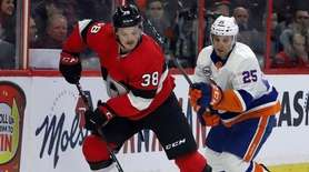 Ottawa Senators left wing Rudolfs Balcers controls the