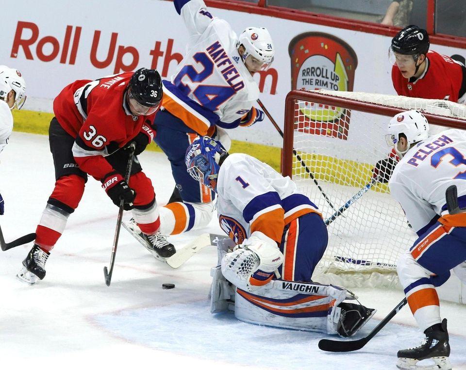 Ottawa Senators center Colin White and New York