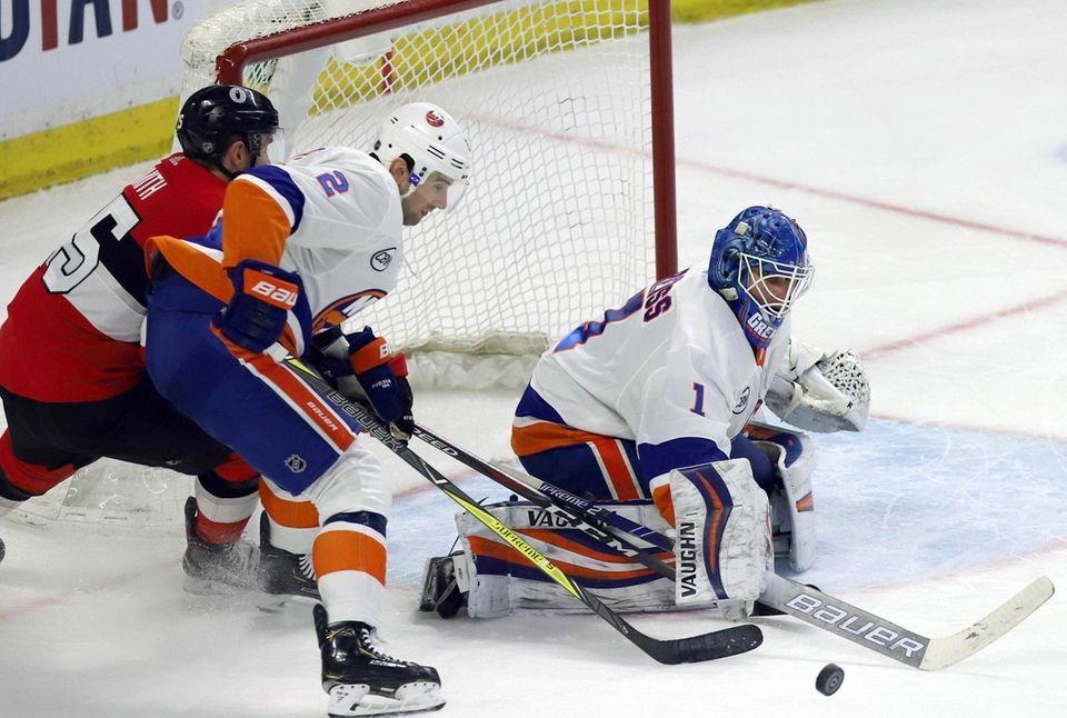 New York Islanders defenseman Nick Leddy and Ottawa