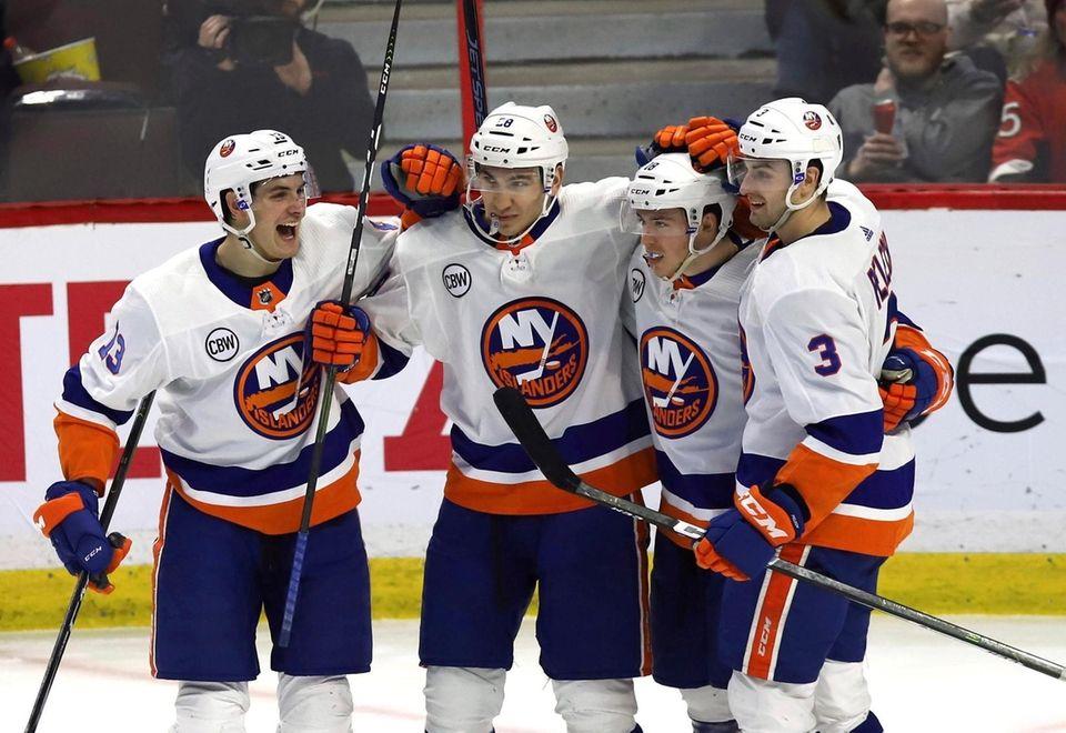 New York Islanders left wing Anthony Beauvillier celebrates