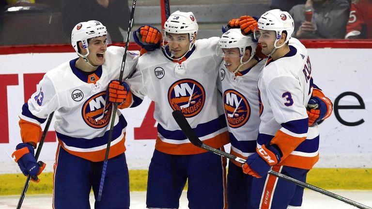 3552de2a0c8 New York Islanders left wing Anthony Beauvillier celebrates