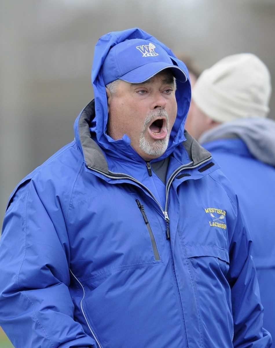 West Islip head coach Scott Craig shouts from