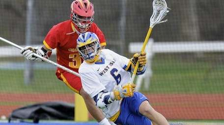 West Islip attacker Drew Federico looks to pass