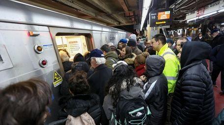 LIRR riders board the 5 p.m. train to