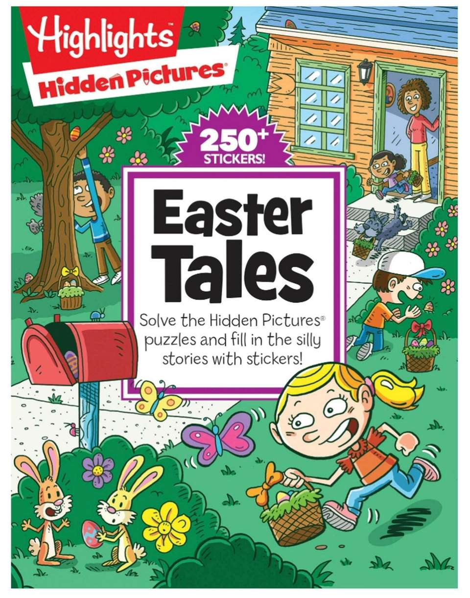 This fill-in-the-blank book features Easter-themed hidden-object puzzles and
