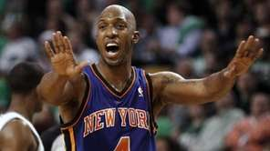 New York Knicks' Chauncey Billups shouts to his