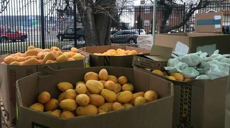 Fresh produce being distributed.