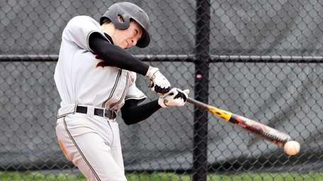 Sachem North's Alec Sole hits a double against