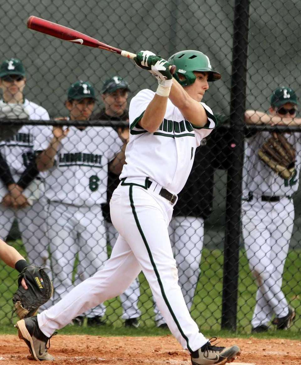 Lindenhurst's Vin Valela drives in a run during