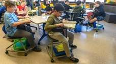 Desks for fifth-graders at Northside Elementary school in