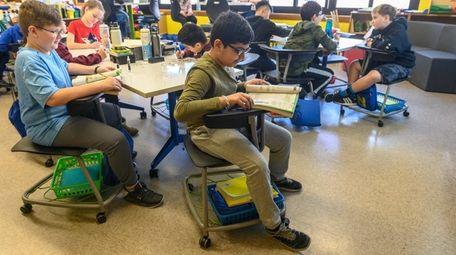 Desks for fifth-graders at Northside Elementary school in